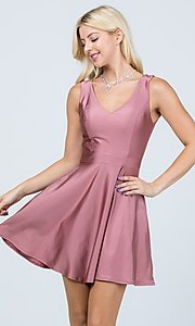 Image of classic short sleeveless a-line party dress. Style: LAS-LSC-21-25589 Detail Image 6