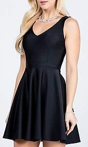 Image of classic short sleeveless a-line party dress. Style: LAS-LSC-21-25589 Detail Image 3
