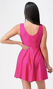 Image of classic short sleeveless a-line party dress. Style: LAS-LSC-21-25589 Back Image