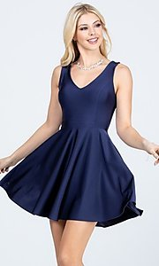 Image of classic short sleeveless a-line party dress. Style: LAS-LSC-21-25589 Front Image