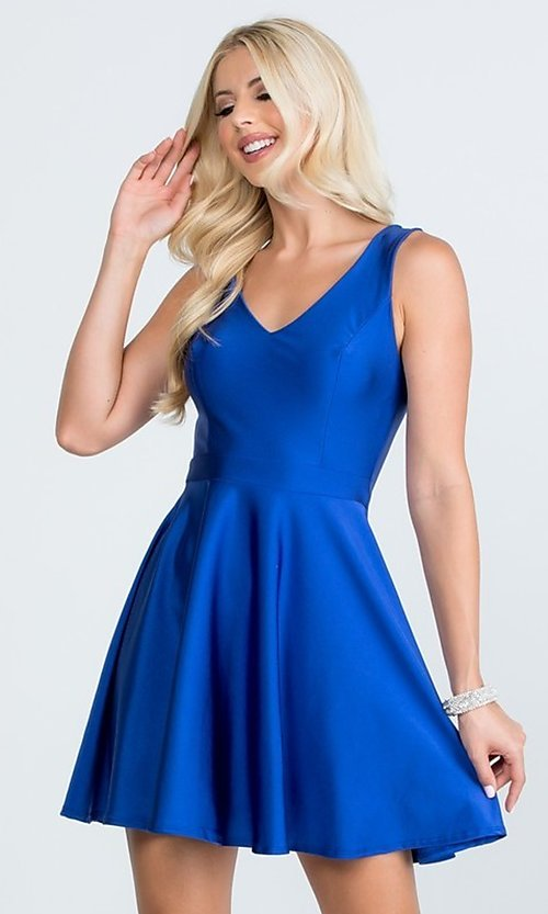 Image of classic short sleeveless a-line party dress. Style: LAS-LSC-21-25589 Detail Image 1