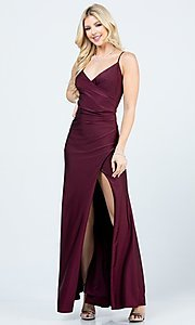 Image of wrap-style long simple prom dress with slit. Style: LAS-LSC-21-25872 Detail Image 6