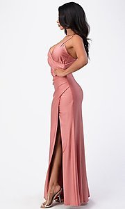 Image of wrap-style long simple prom dress with slit. Style: LAS-LSC-21-25872 Detail Image 2