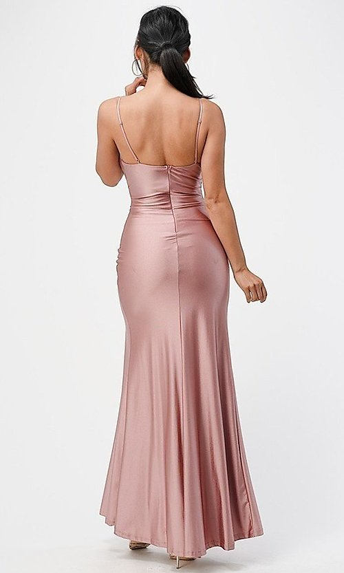 Image of wrap-style long simple prom dress with slit. Style: LAS-LSC-21-25872 Back Image