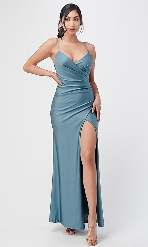 Image of wrap-style long simple prom dress with slit. Style: LAS-LSC-21-25872 Detail Image 4