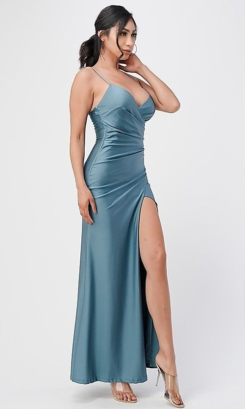 Image of wrap-style long simple prom dress with slit. Style: LAS-LSC-21-25872 Detail Image 5