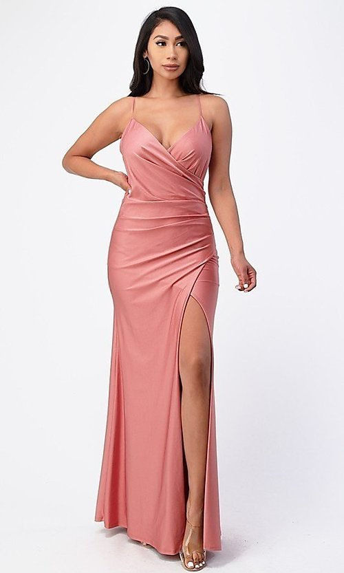 Image of wrap-style long simple prom dress with slit. Style: LAS-LSC-21-25872 Front Image