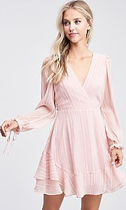 Image of blush pink long sleeve short casual party dress. Style: LAS-TCC-21-LD3417 Front Image