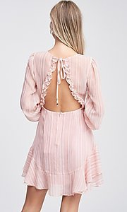 Image of blush pink long sleeve short casual party dress. Style: LAS-TCC-21-LD3417 Back Image
