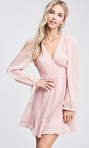 Image of blush pink long sleeve short casual party dress. Style: LAS-TCC-21-LD3417 Detail Image 1