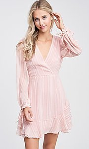 Image of blush pink long sleeve short casual party dress. Style: LAS-TCC-21-LD3417 Detail Image 2
