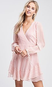 Image of blush pink long sleeve short casual party dress. Style: LAS-TCC-21-LD3417 Detail Image 3