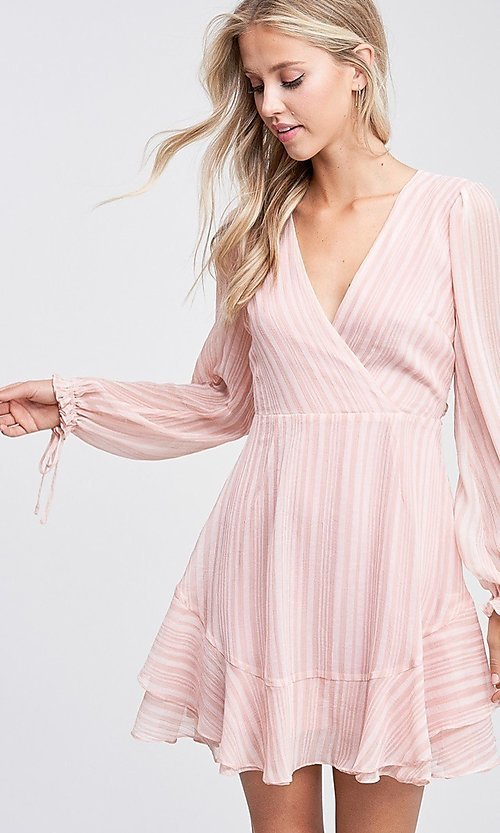 Image of blush pink long sleeve short casual party dress. Style: LAS-TCC-21-LD3417 Detail Image 4