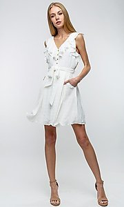 Image of off-white short ruffled casual party dress. Style: LAS-TCC-21-LD3536 Front Image