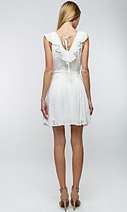 Image of off-white short ruffled casual party dress. Style: LAS-TCC-21-LD3536 Back Image