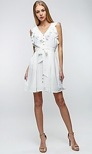 Image of off-white short ruffled casual party dress. Style: LAS-TCC-21-LD3536 Detail Image 1