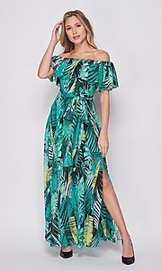 Image of off-the-shoulder casual long print maxi dress. Style: LAS-BIG-21-HD1084 Front Image