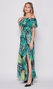 Image of off-the-shoulder casual long print maxi dress. Style: LAS-BIG-21-HD1084 Detail Image 1