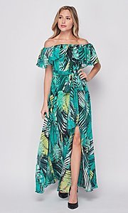 Image of off-the-shoulder casual long print maxi dress. Style: LAS-BIG-21-HD1084 Detail Image 2