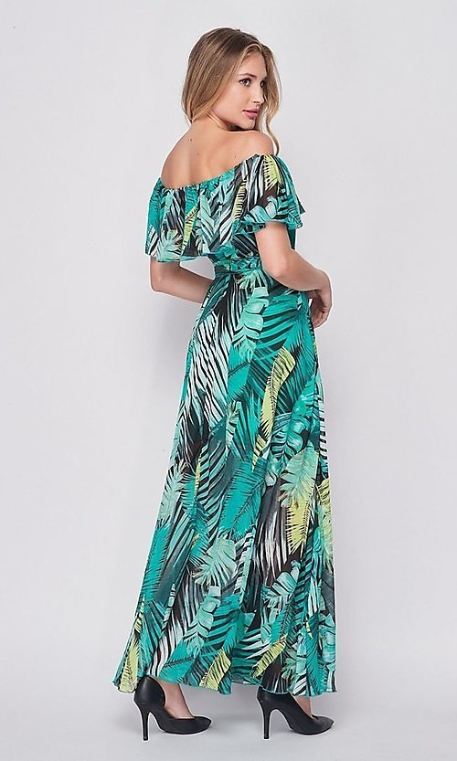 Image of off-the-shoulder casual long print maxi dress. Style: LAS-BIG-21-HD1084 Back Image