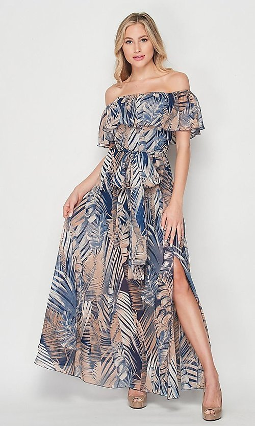 Image of off-the-shoulder casual long print maxi dress. Style: LAS-BIG-21-HD1084 Detail Image 4