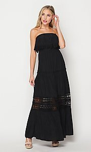 Image of strapless popover long casual maxi dress. Style: LAS-BIG-21-HD1108-PD4075 Detail Image 4