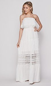 Image of strapless popover long casual maxi dress. Style: LAS-BIG-21-HD1108-PD4075 Detail Image 2