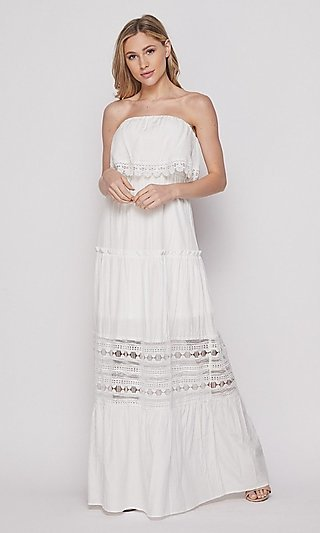 Strapless Popover Long Casual Maxi Dress