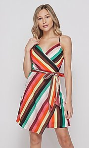 Image of wrap-style short casual striped dress. Style: LAS-BIG-21-PD4084 Front Image