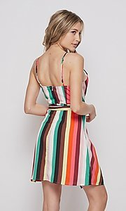 Image of wrap-style short casual striped dress. Style: LAS-BIG-21-PD4084 Back Image