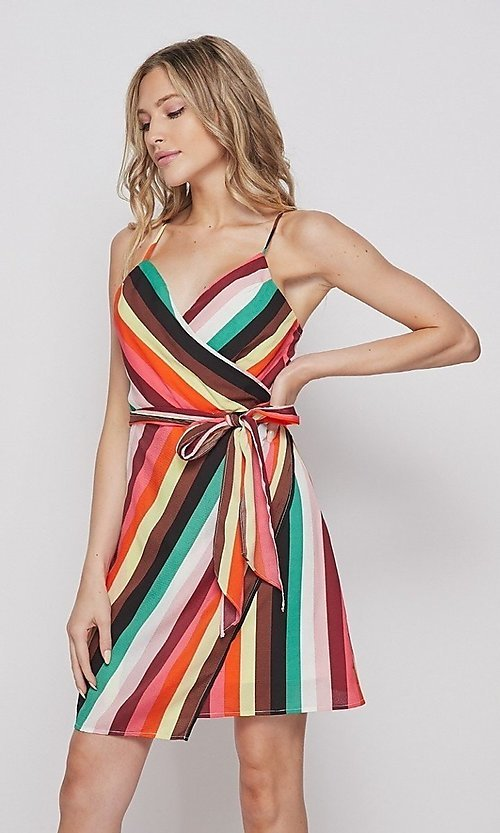 Image of wrap-style short casual striped dress. Style: LAS-BIG-21-PD4084 Detail Image 1
