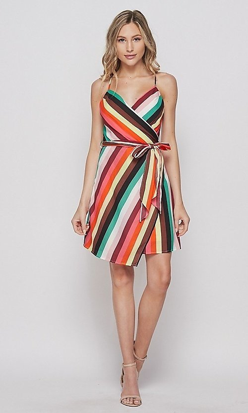 Image of wrap-style short casual striped dress. Style: LAS-BIG-21-PD4084 Detail Image 2