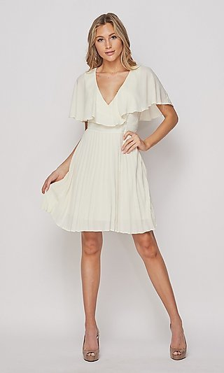 Popover Pleated Short A-Line Party Dress