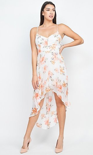 Floral-Print High-Low Lace-Back Party Dress