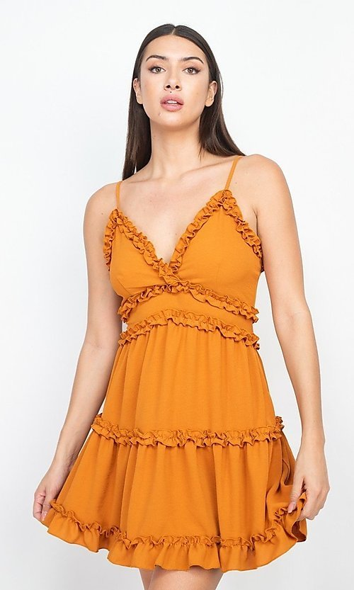 Image of cute short casual dress with ruffle trim. Style: LAS-IRI-21-ID4772 Detail Image 1
