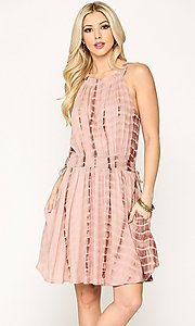 Image of short pink casual party dress with pockets. Style: LAS-GIG-21-TC1706 Front Image