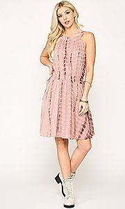 Image of short pink casual party dress with pockets. Style: LAS-GIG-21-TC1706 Detail Image 1