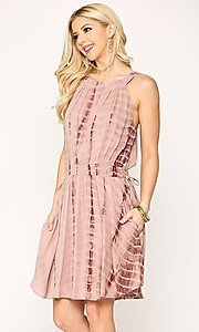 Image of short pink casual party dress with pockets. Style: LAS-GIG-21-TC1706 Detail Image 3
