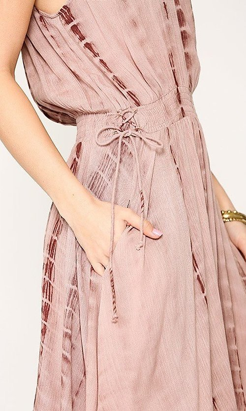 Image of short pink casual party dress with pockets. Style: LAS-GIG-21-TC1706 Detail Image 2