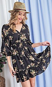 Image of puff-sleeve short casual floral party dress. Style: LAS-EES-21-DK2779 Detail Image 5