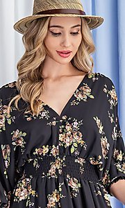 Image of puff-sleeve short casual floral party dress. Style: LAS-EES-21-DK2779 Detail Image 6