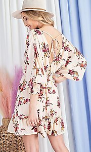 Image of puff-sleeve short casual floral party dress. Style: LAS-EES-21-DK2779 Back Image