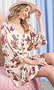 Image of puff-sleeve short casual floral party dress. Style: LAS-EES-21-DK2779 Detail Image 1