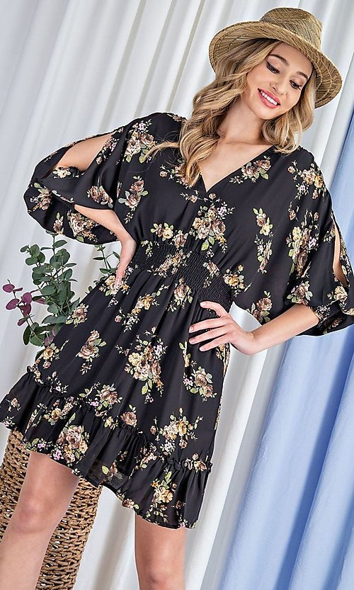 Image of puff-sleeve short casual floral party dress. Style: LAS-EES-21-DK2779 Detail Image 3