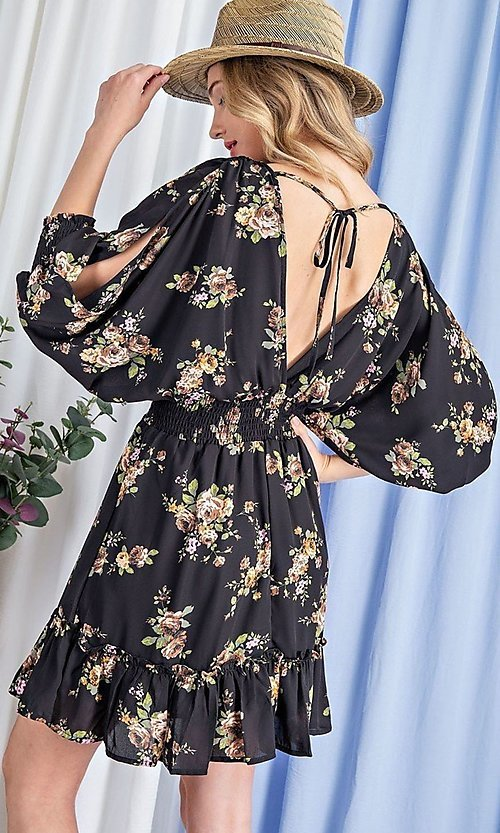 Image of puff-sleeve short casual floral party dress. Style: LAS-EES-21-DK2779 Detail Image 4