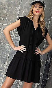Image of short casual cotton smock dress with v-neck tie. Style: LAS-EES-21-DK4181 Detail Image 5