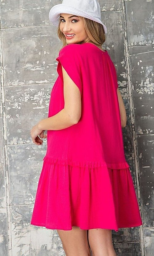 Image of short casual cotton smock dress with v-neck tie. Style: LAS-EES-21-DK4181 Back Image