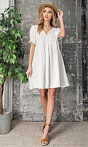 Image of off-white short casual graduation party dress. Style: LAS-EES-21-DK4216 Front Image