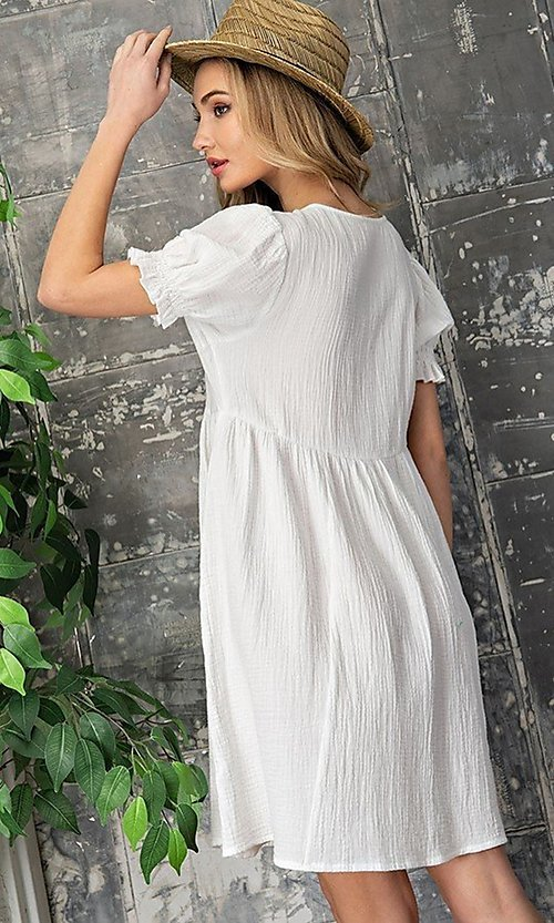 Image of off-white short casual graduation party dress. Style: LAS-EES-21-DK4216 Back Image