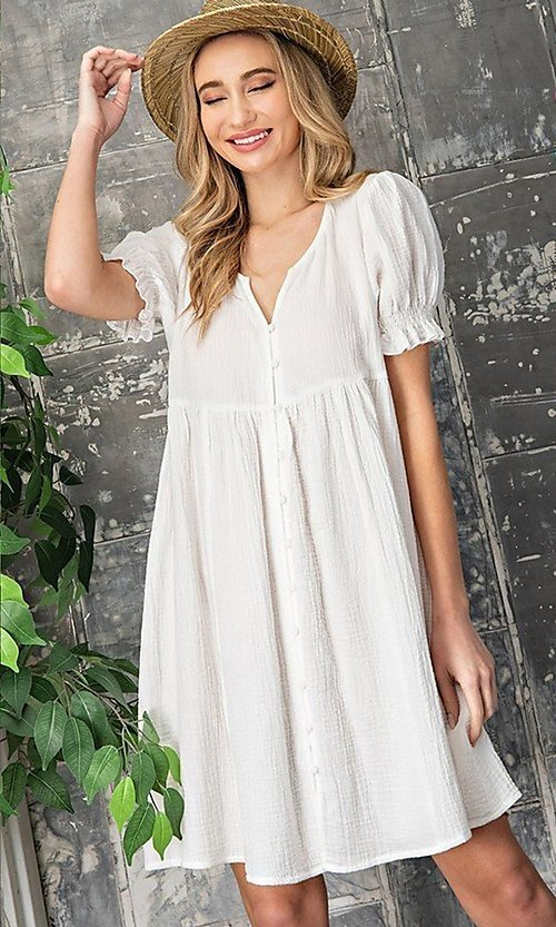Image of off-white short casual graduation party dress. Style: LAS-EES-21-DK4216 Detail Image 1